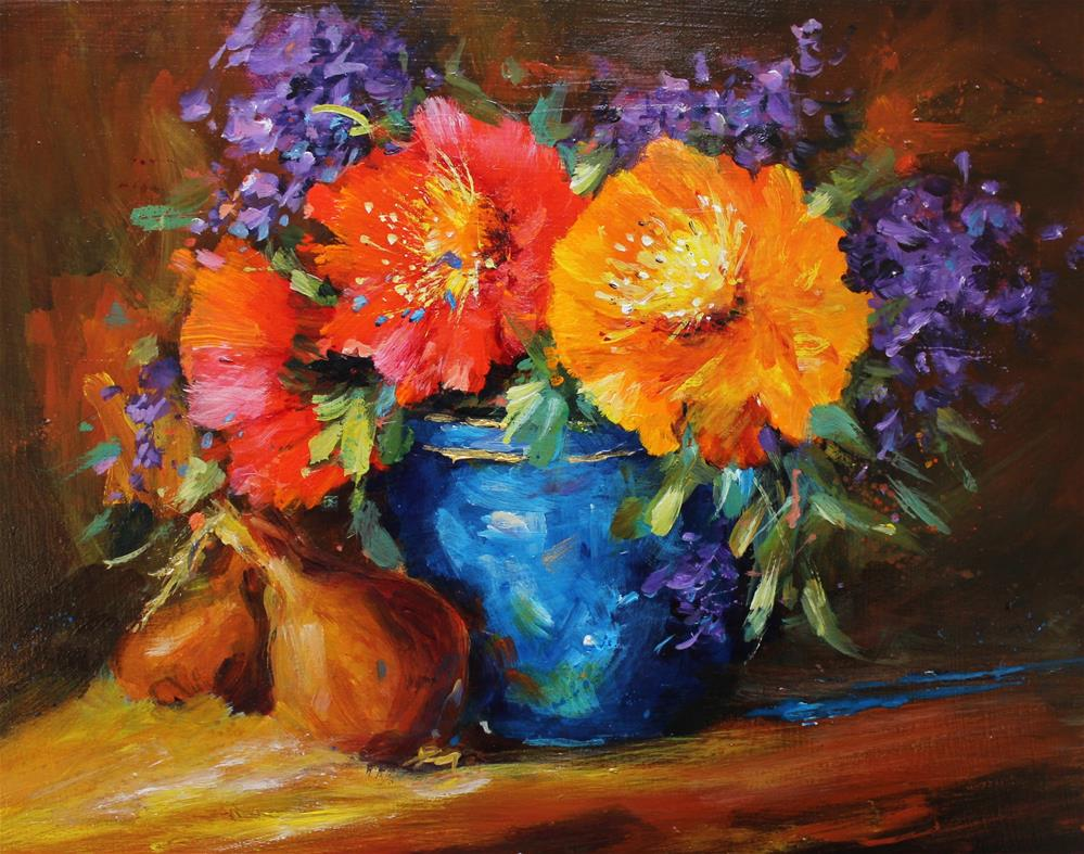 """Original acrylic floral flower lilac bouquet poppy onion blue vase"" original fine art by Alice Harpel"