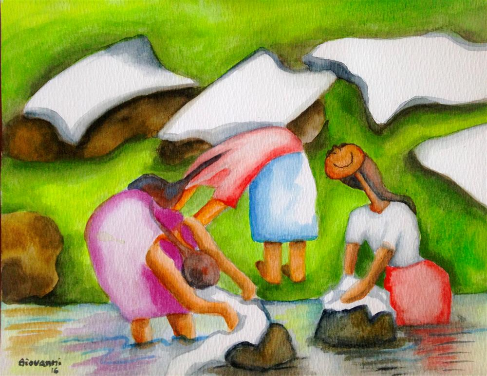"""""""Lavanderas 2 (Women Washing Clothes)"""" original fine art by Giovanni Antunez"""
