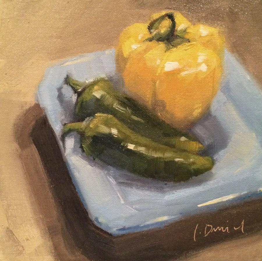 """Plate of Peppers - Seventeen of 30 in 30"" original fine art by Laurel Daniel"