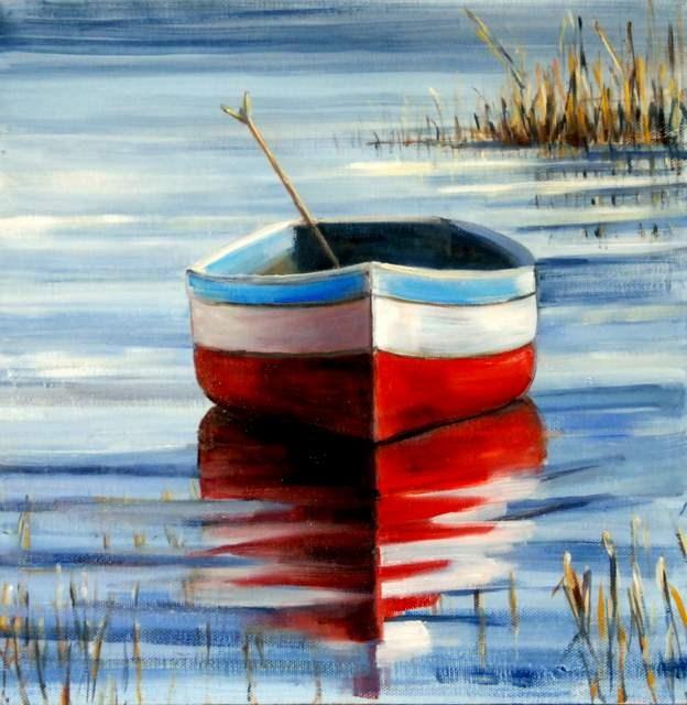 """Study of Rowboat Reflection"" original fine art by Christina Dowdy"