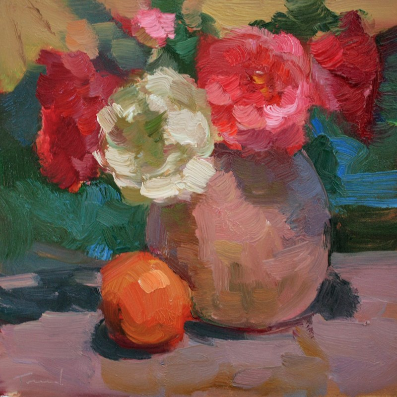 """""""Roses with Orange"""" original fine art by Kathryn Townsend"""
