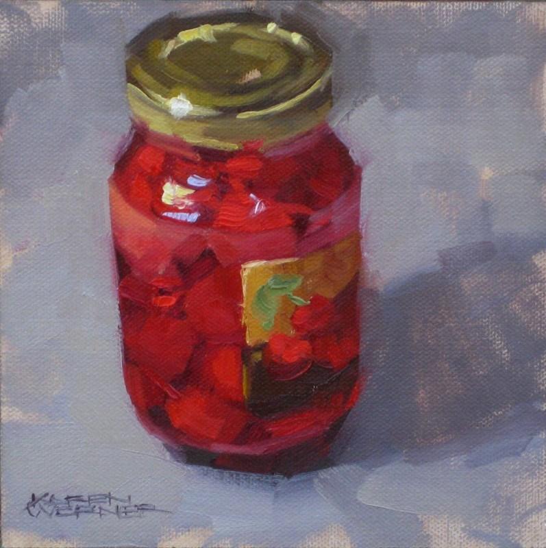 """""""Cherry Jar"""" original fine art by Karen Werner"""