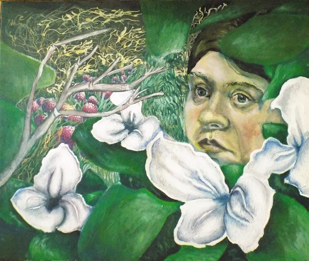"""Self Portrait with flowers"" original fine art by tara stephanos"