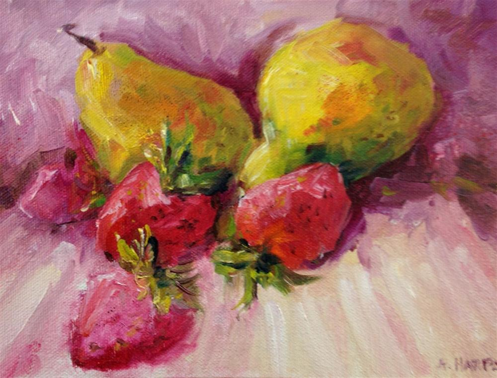 """Pears and strawberries food art still life kitchen painting"" original fine art by Alice Harpel"