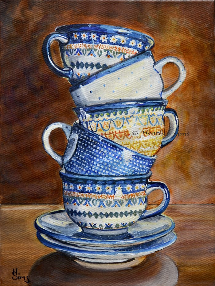 """Teacups Stacked: Polish Pottery XCI"" original fine art by Heather Sims"