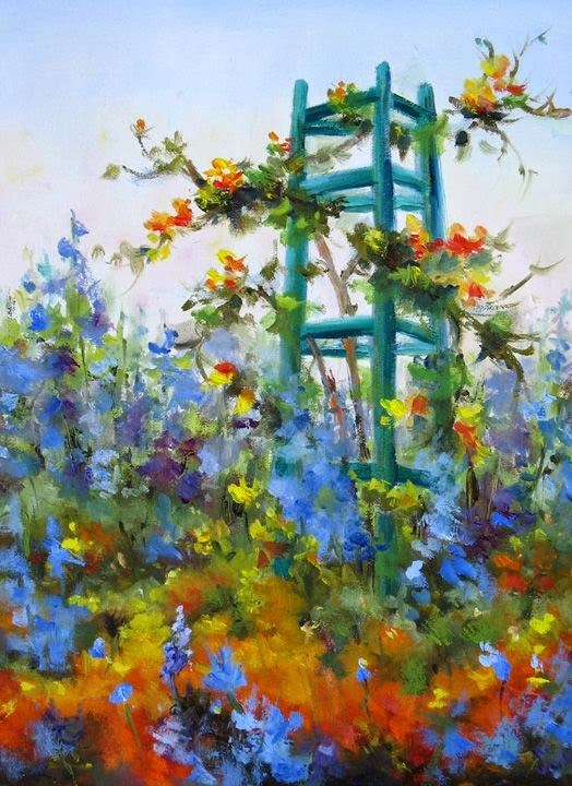 """""""Come paint in Monet's Garden June 4-11- 2 spaces just opened up!"""" original fine art by Pat Fiorello"""