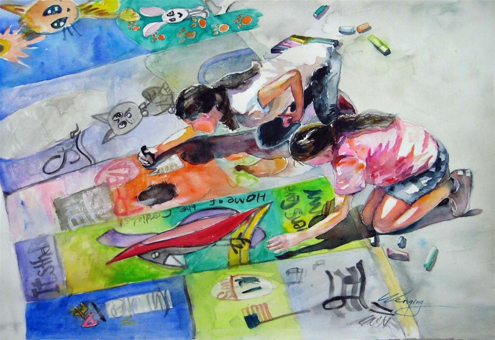 """""""Contest of chalk painting"""" original fine art by Wenqing Xu"""