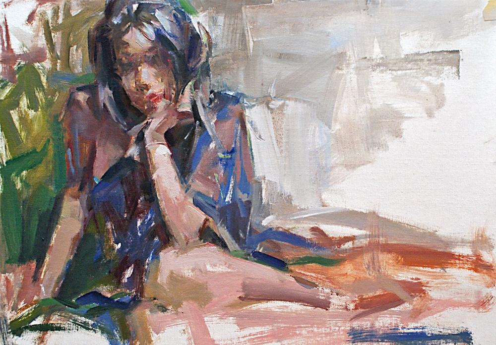"""""""Lara with Blue Robe"""" original fine art by Mike Peterson"""