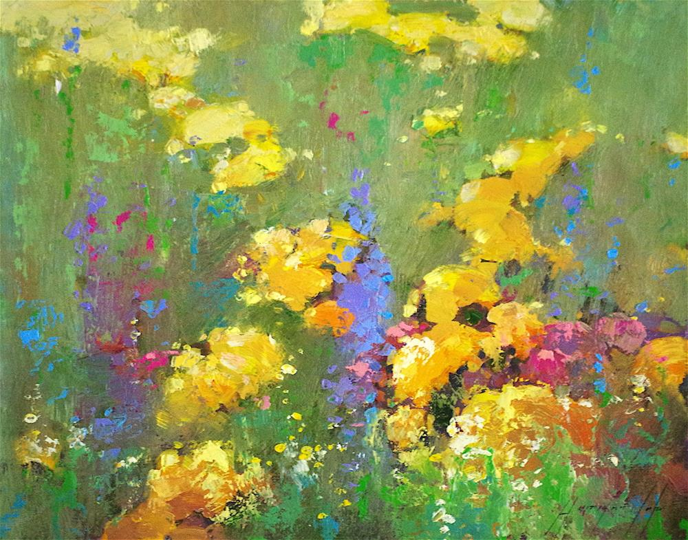 """Flowers Garden, Original oil Painting, Signed with Certificate of Authenticity "" original fine art by V Y"