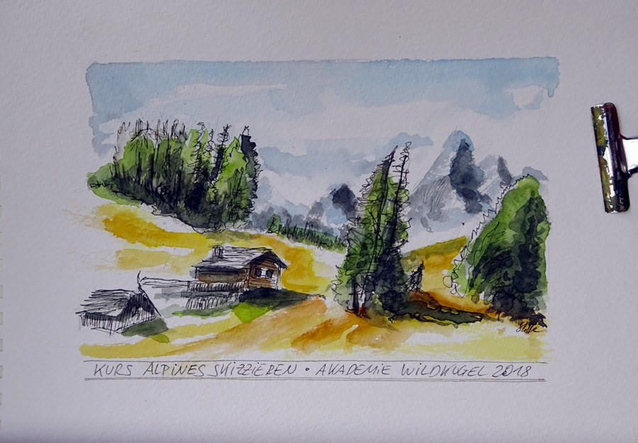 """2491 Last Workshop Day Mountain Sketching"" original fine art by Dietmar Stiller"