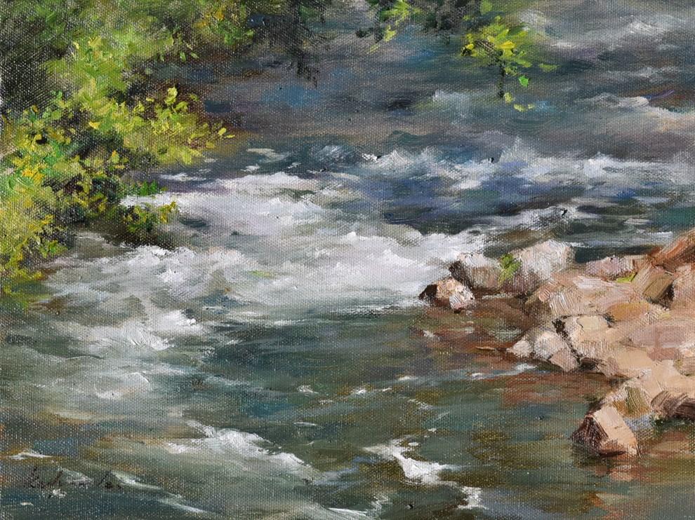 """""""The Winding Stream"""" original fine art by Kelvin Lei"""