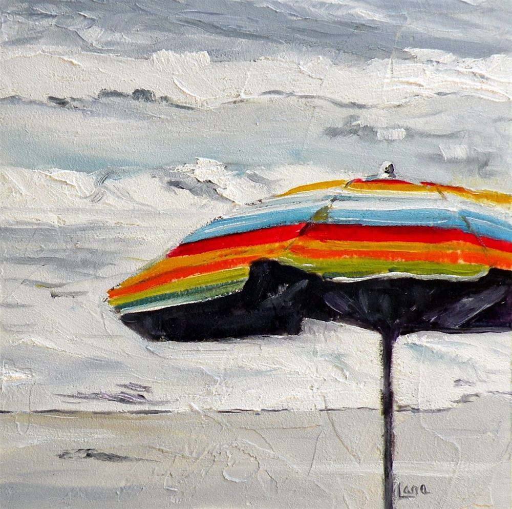 """BEACHY STRIPES ORIGINAL 4X4 OIL ON PANEL and a BEGINNING  © SAUNDRA LANE GALLOWAY"" original fine art by Saundra Lane Galloway"
