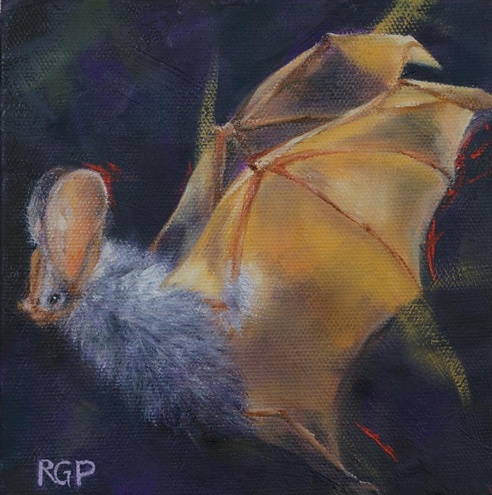 """""""Gold and Purple Bat"""" original fine art by Rhea  Groepper Pettit"""