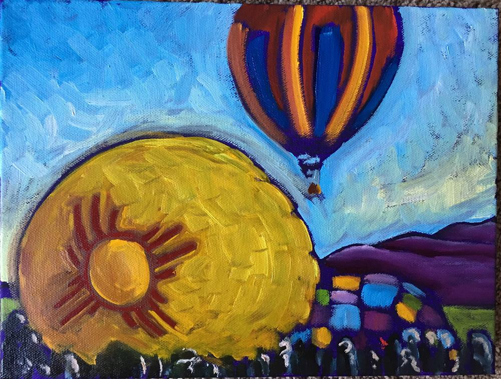 """Zia Balloon going up"" original fine art by Robyn Wellman"