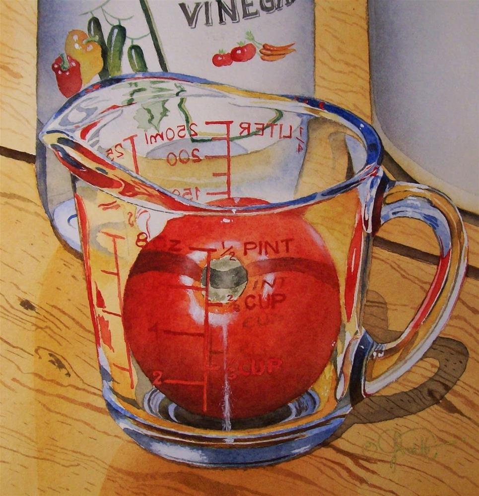 """""""Measuring Cup with Tomato"""" original fine art by Jacqueline Gnott, TWSA, WHS"""