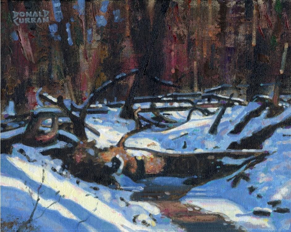 """Snowy Brook"" original fine art by Donald Curran"