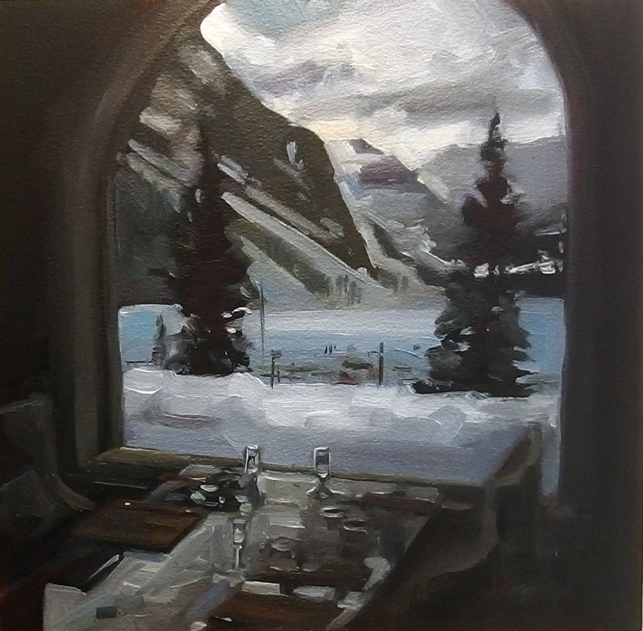 """No 833 Lunch at the Chateau Lake Louise Hotel"" original fine art by Robin J Mitchell"