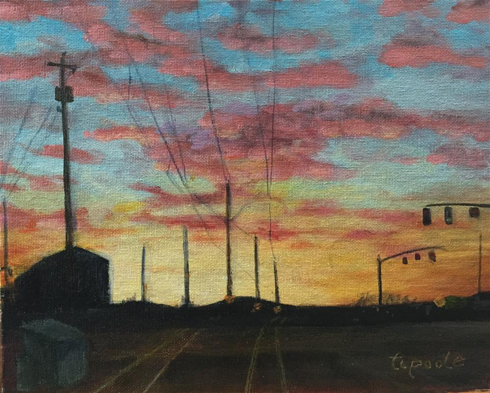 """Orange Line Morning 12th Ave Crossing"" original fine art by T.C. Poole"