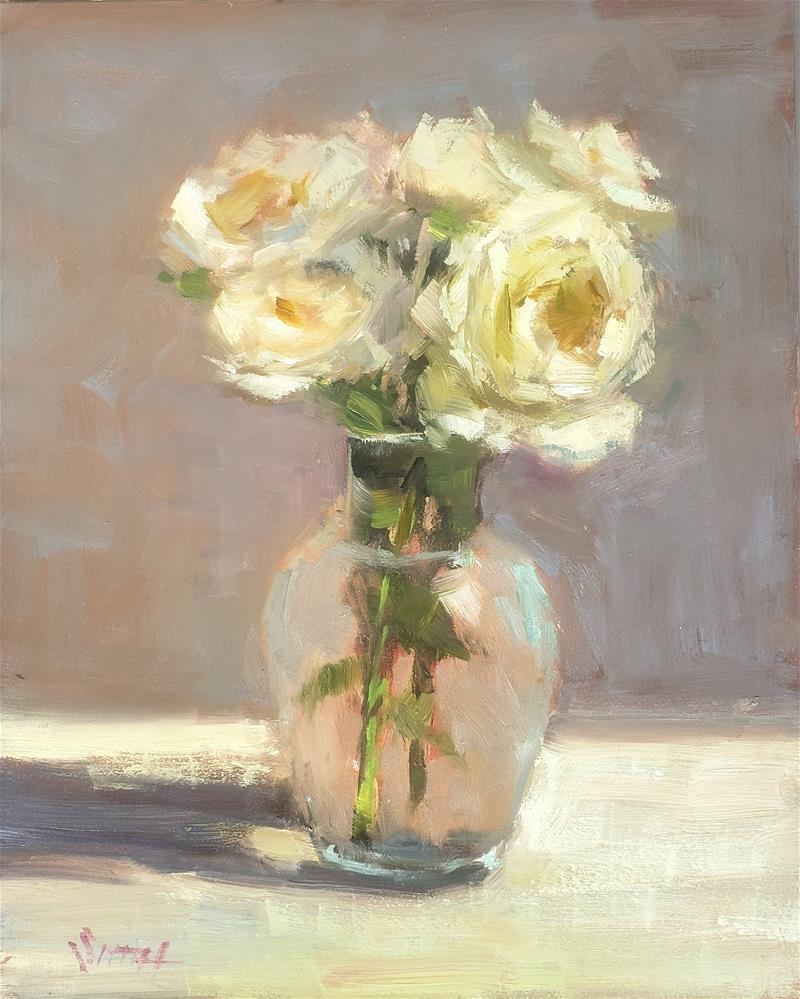 """White Roses "" original fine art by Barbie Smith"