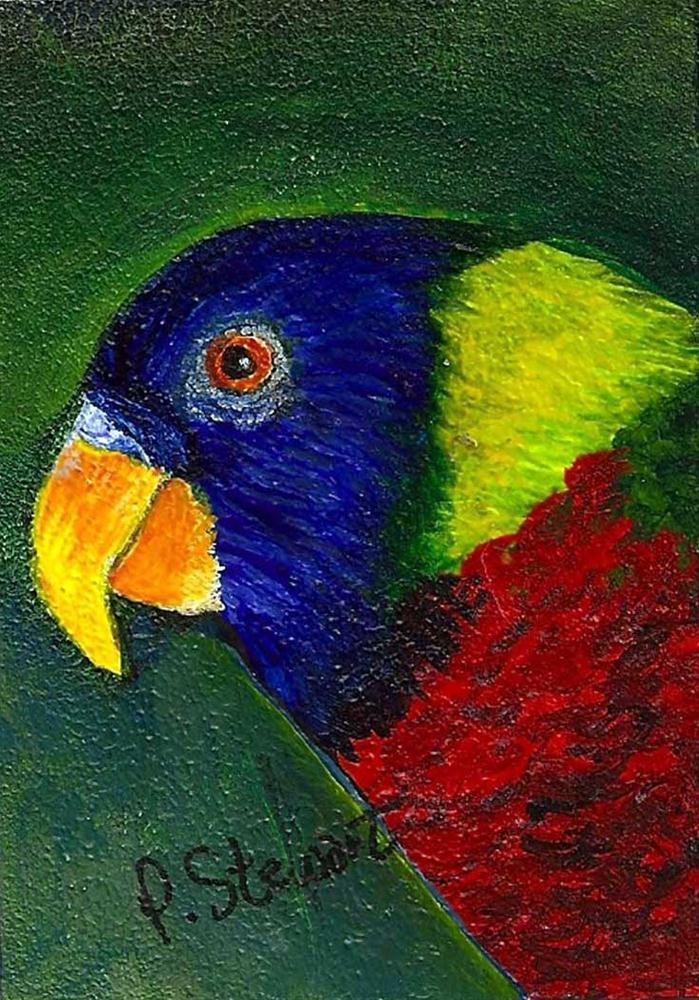 """ACEO Magnet Lorikeet Parrot Bird on Masonite"" original fine art by Penny Lee StewArt"