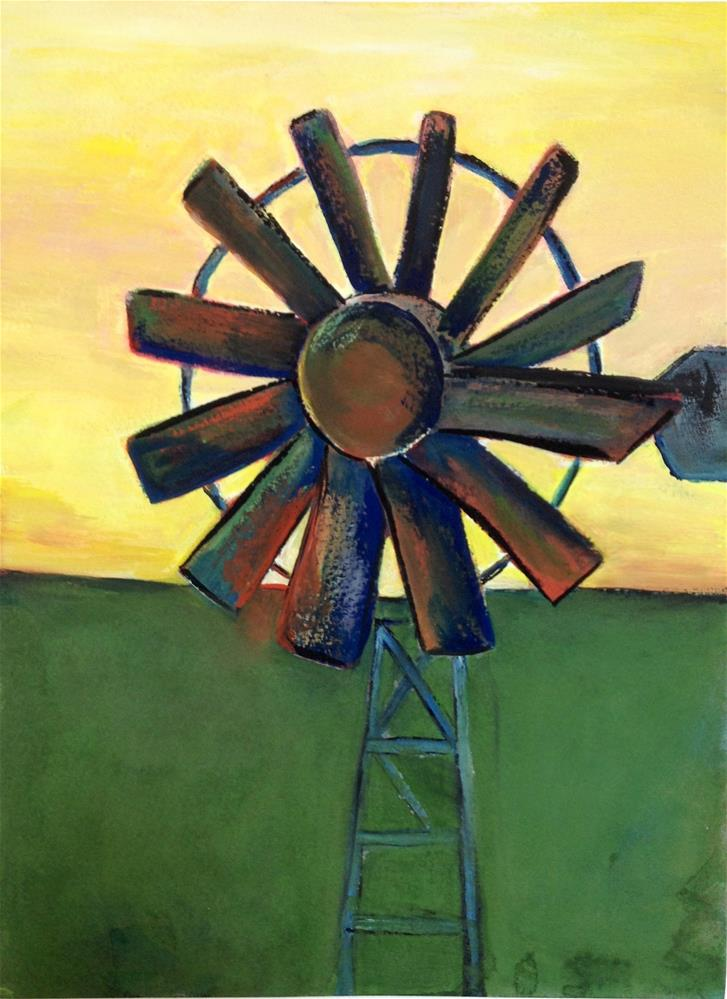 """""""9x12 Windmill Sunset Gouache Landscape 300 lb paper Expressionistic by Penny StewArt"""" original fine art by Penny Lee StewArt"""