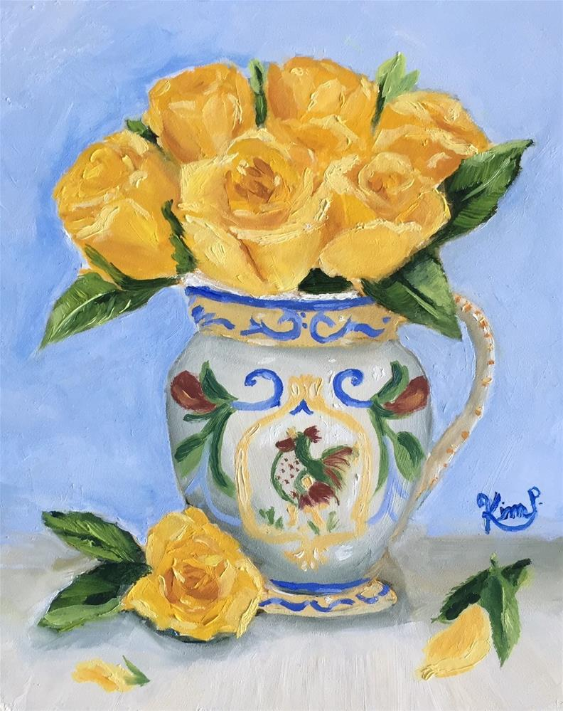"""""""Yellow Roses in French Country Pitcher"""" original fine art by Kim Peterson"""