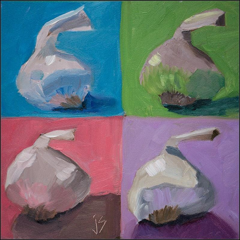 """""""Pop Art - Garlic 4 Ways"""" original fine art by Johnna Schelling"""