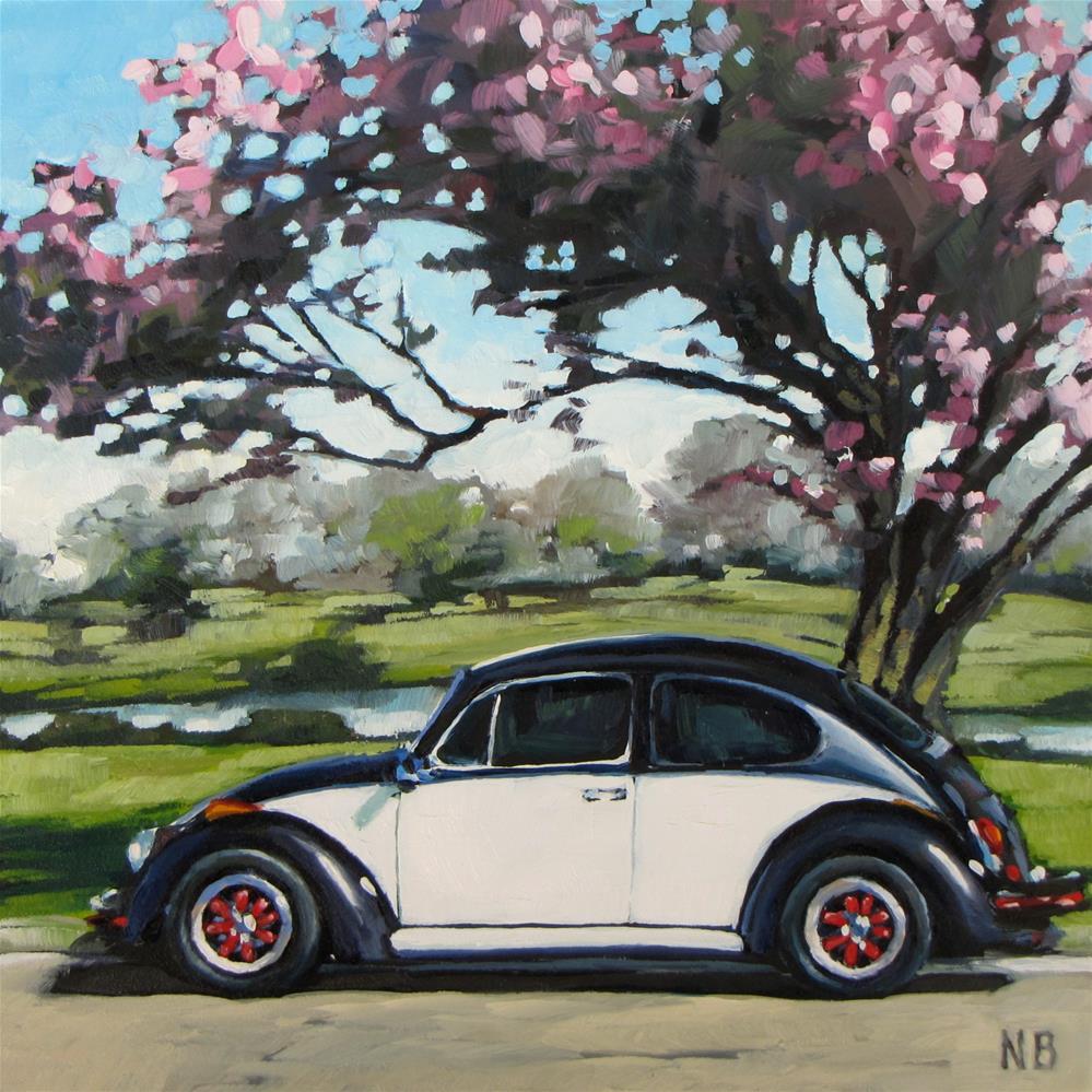 """Pink Ladybug"" original fine art by Nora Bergman"