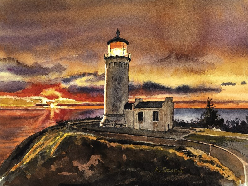"""""""North Head Light"""" original fine art by Andy Sewell"""