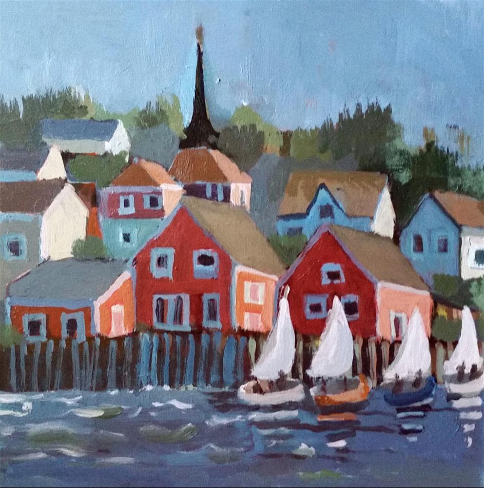 """Sailing in Lunenburg Harbour "" original fine art by Liz Maynes"