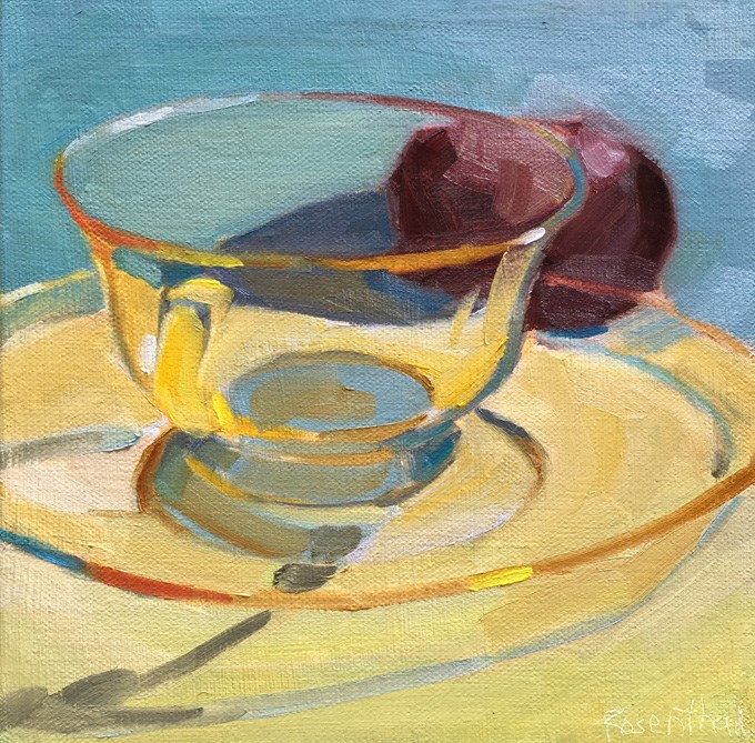 """Pale Yellow Glass Cup and Plum"" original fine art by Robin Rosenthal"