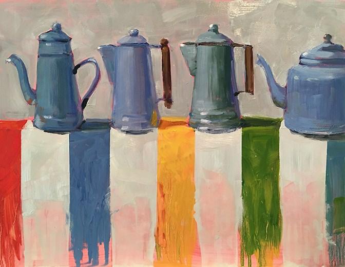 """Blue Coffee"" original fine art by Deborah Newman"