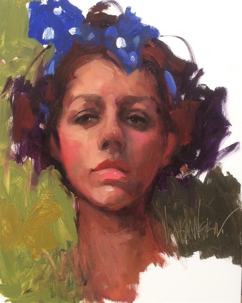 """""""Polka Dot Girl"""" original fine art by Laurie Johnson Lepkowska"""