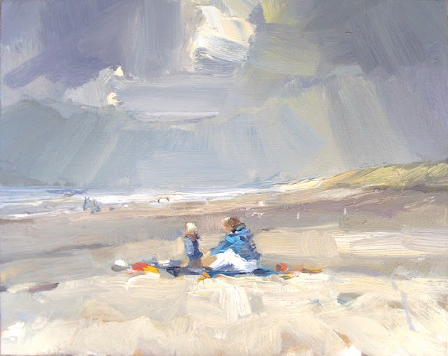 """""""Seascape winter #30 First Spring visitors on the beach"""" original fine art by Roos Schuring"""
