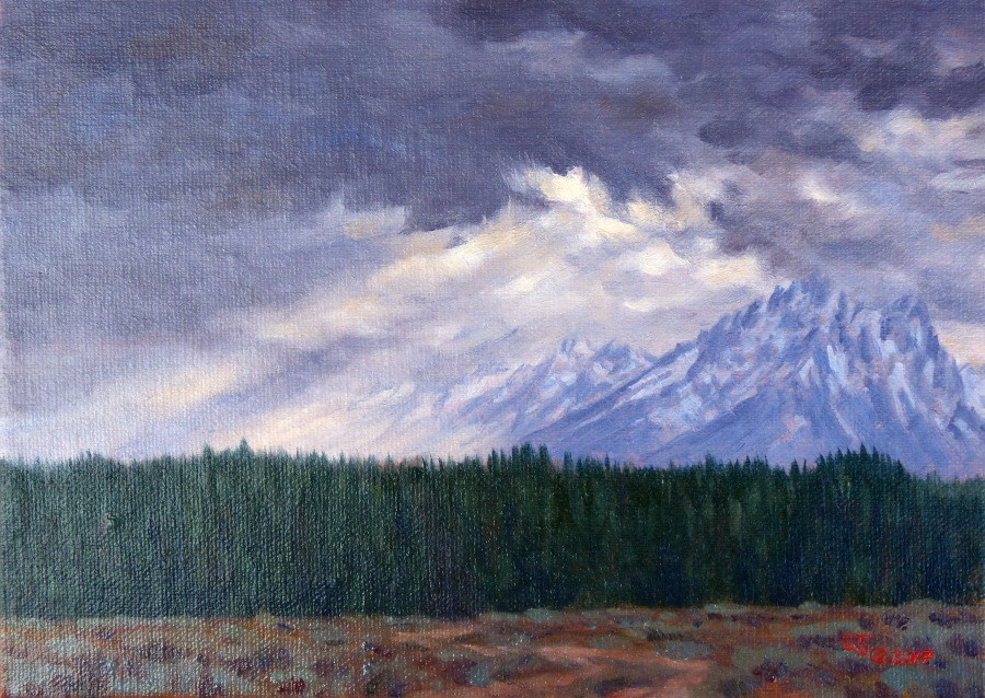 """C1643  ""Snow Showers over the Tetons""  (Grand Teton National Park, Wyoming)"" original fine art by Steven Thor Johanneson"