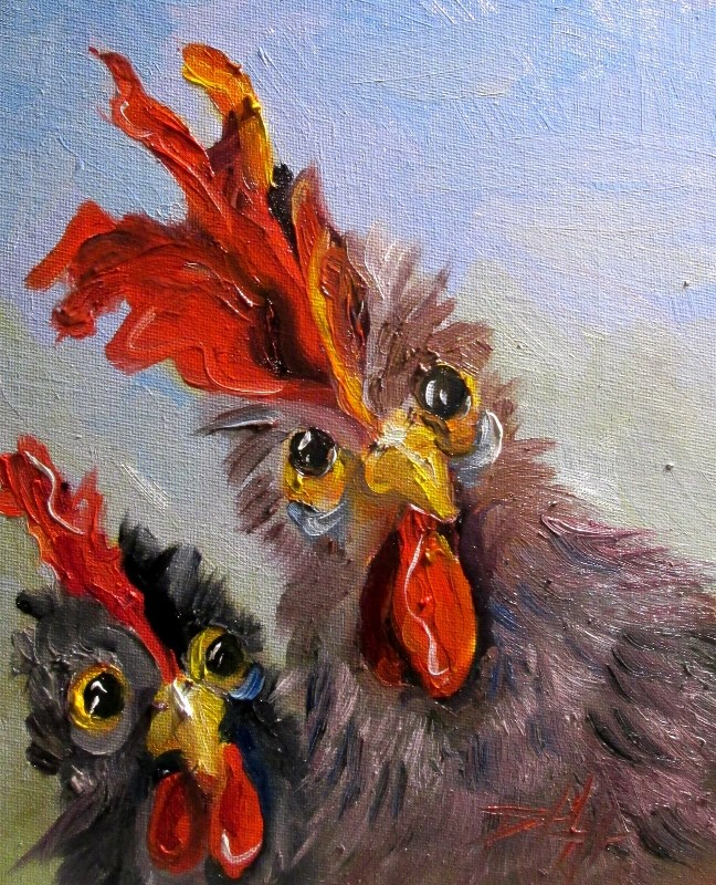 """Two Rooster"" original fine art by Delilah Smith"