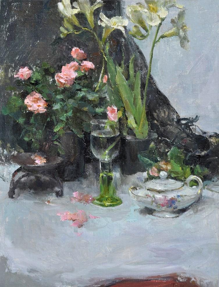 """still life with roses"" original fine art by Taisia Kuklina"