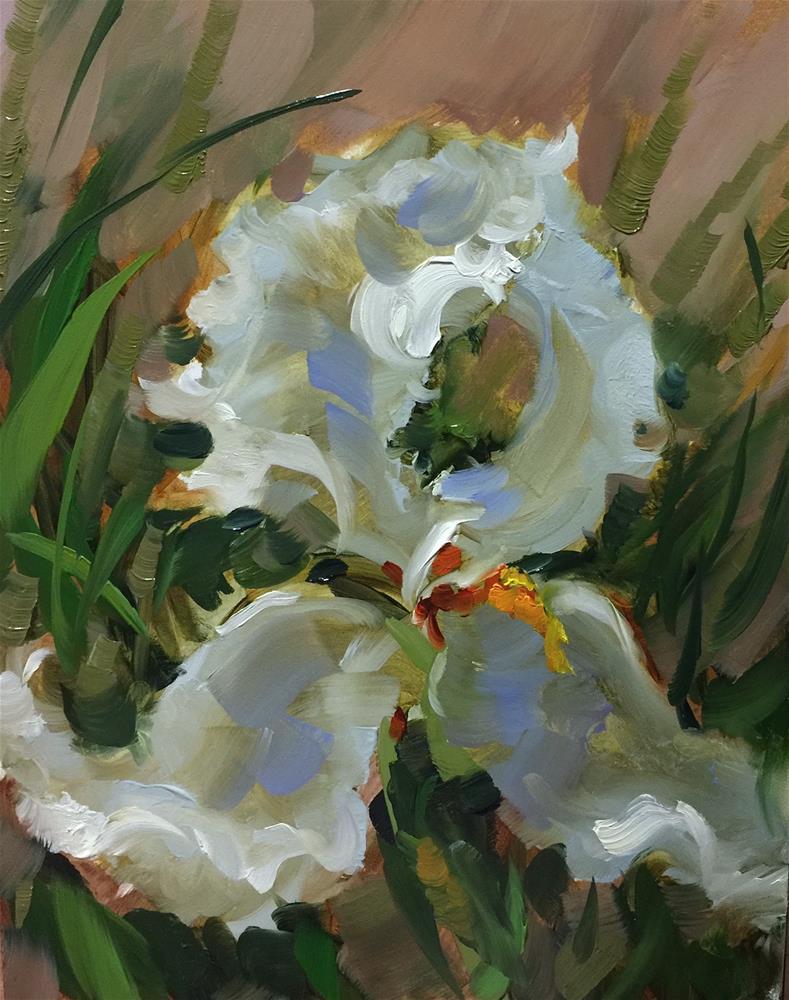 """Never Broken White Iris - Nancy Medina Art Videos and Classes"" original fine art by Nancy Medina"