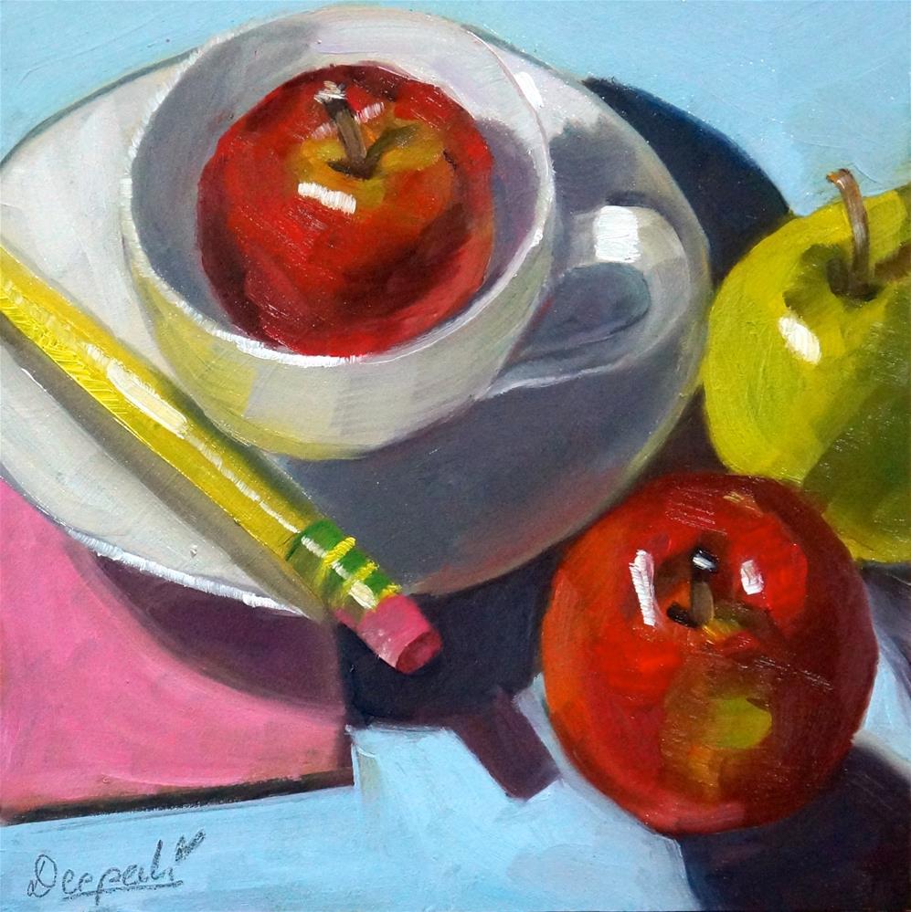 """Apples with pencil"" original fine art by Dipali Rabadiya"