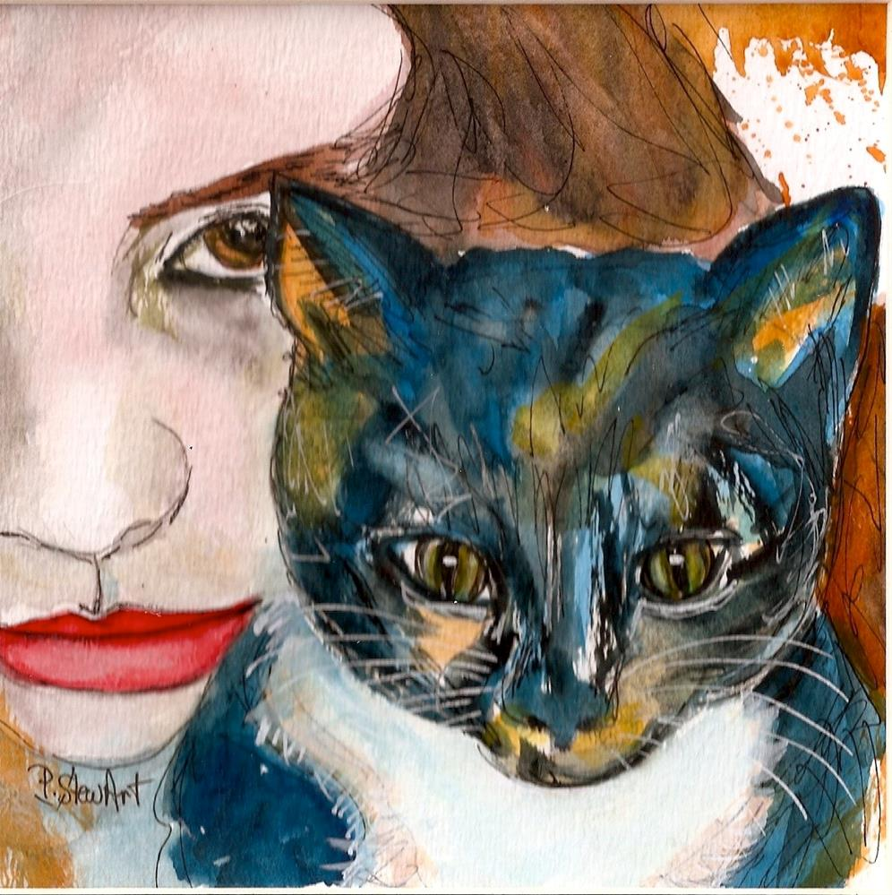 """Nina and her Cat, Watercolor and Pen, Illustration Pet Portrait Penny StewArt"" original fine art by Penny Lee StewArt"