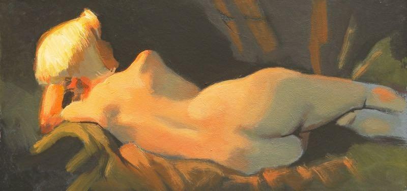 """Reclining"" original fine art by Peter Orrock"