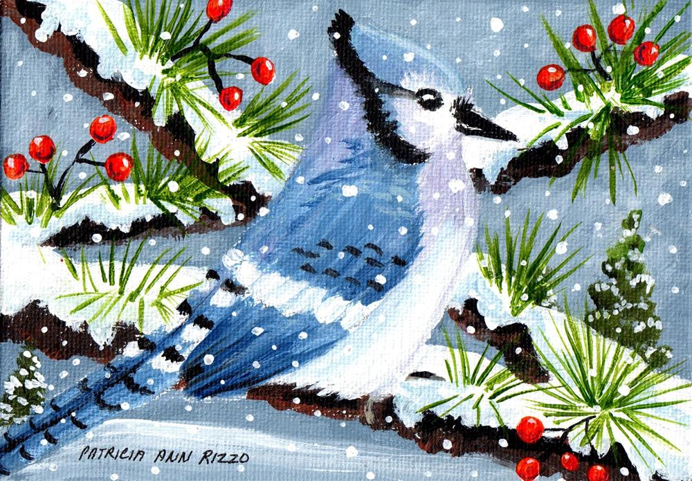 """Bluejay in the Snow"" original fine art by Patricia Ann Rizzo"