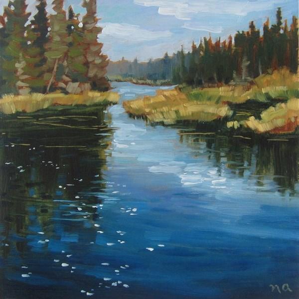 """""""Shimmer, Waskesiu River"""" original fine art by Nicki Ault"""