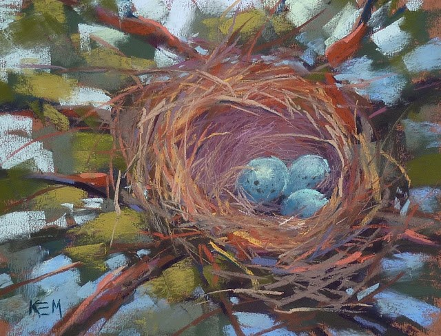 """Lessons to be Learned from Painting a Bird Nest"" original fine art by Karen Margulis"