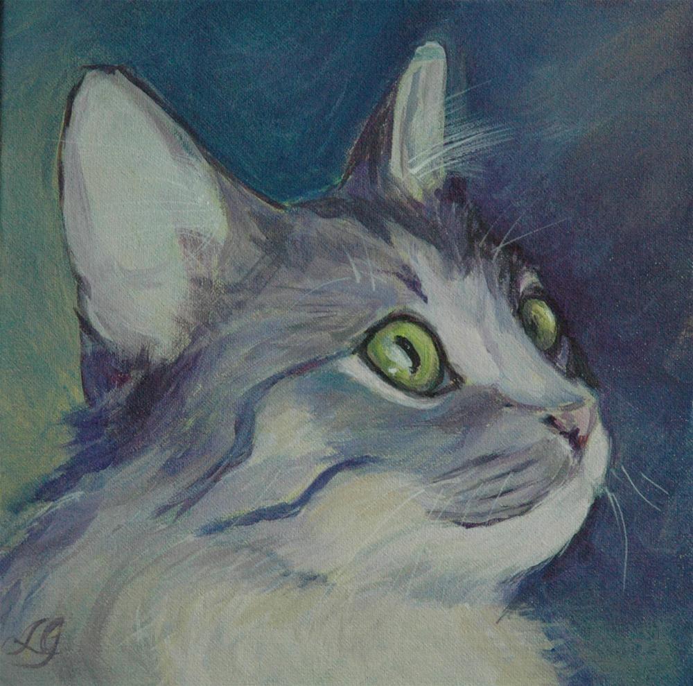 """Gray tabby kitten"" original fine art by Lyn Gill"