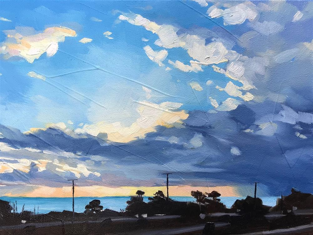"""""""Winter Sunset"""" original fine art by Sharon Schock"""