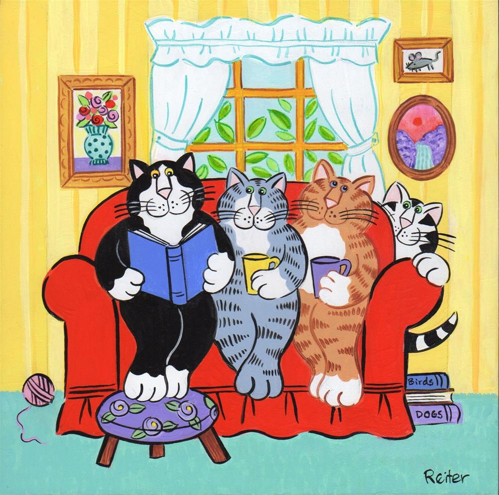 """""""Cat Friends Reading Together"""" original fine art by Candace Reiter"""