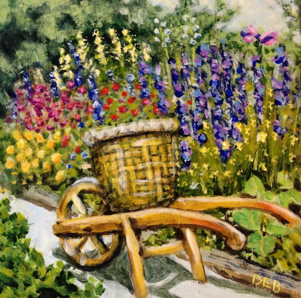 """Vintage Wheelbarrow at Williamsburg Nursery"" original fine art by Debbie Yacenda"