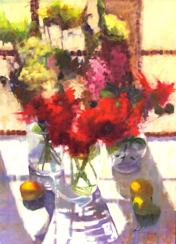 """""""Framed Rendezvous 30x40 And Thoughts on Going Big"""" original fine art by Ann Feldman"""
