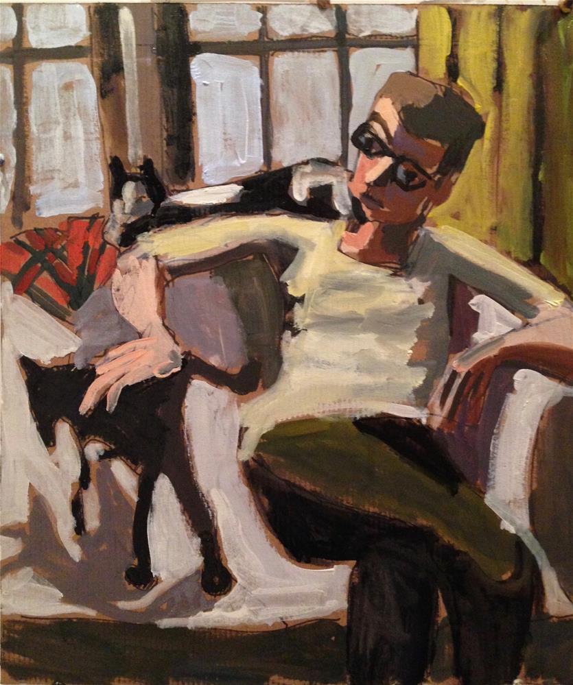 """A Man and His Cats"" original fine art by Pamela Hoffmeister"